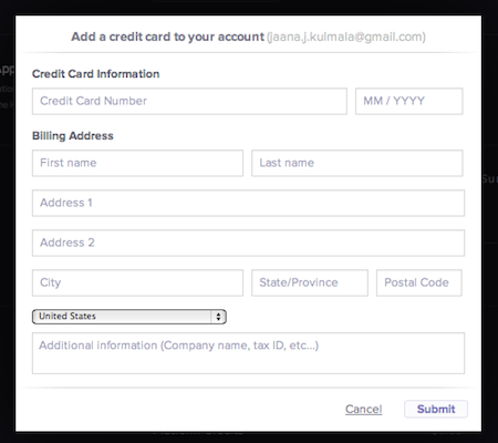 poor customer messaging - credit card form by Heroku