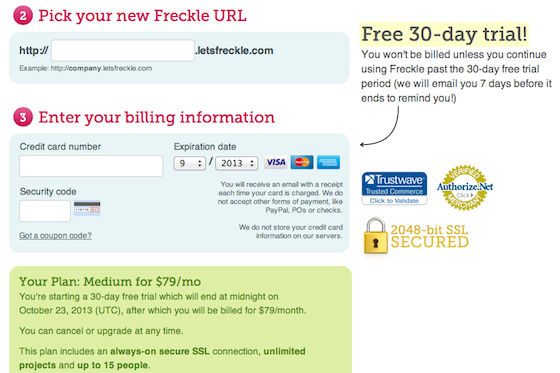 good customer messaging credit card form by Freckle